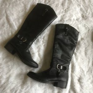 8.5 Black Faux Leather Knee High Riding Boots